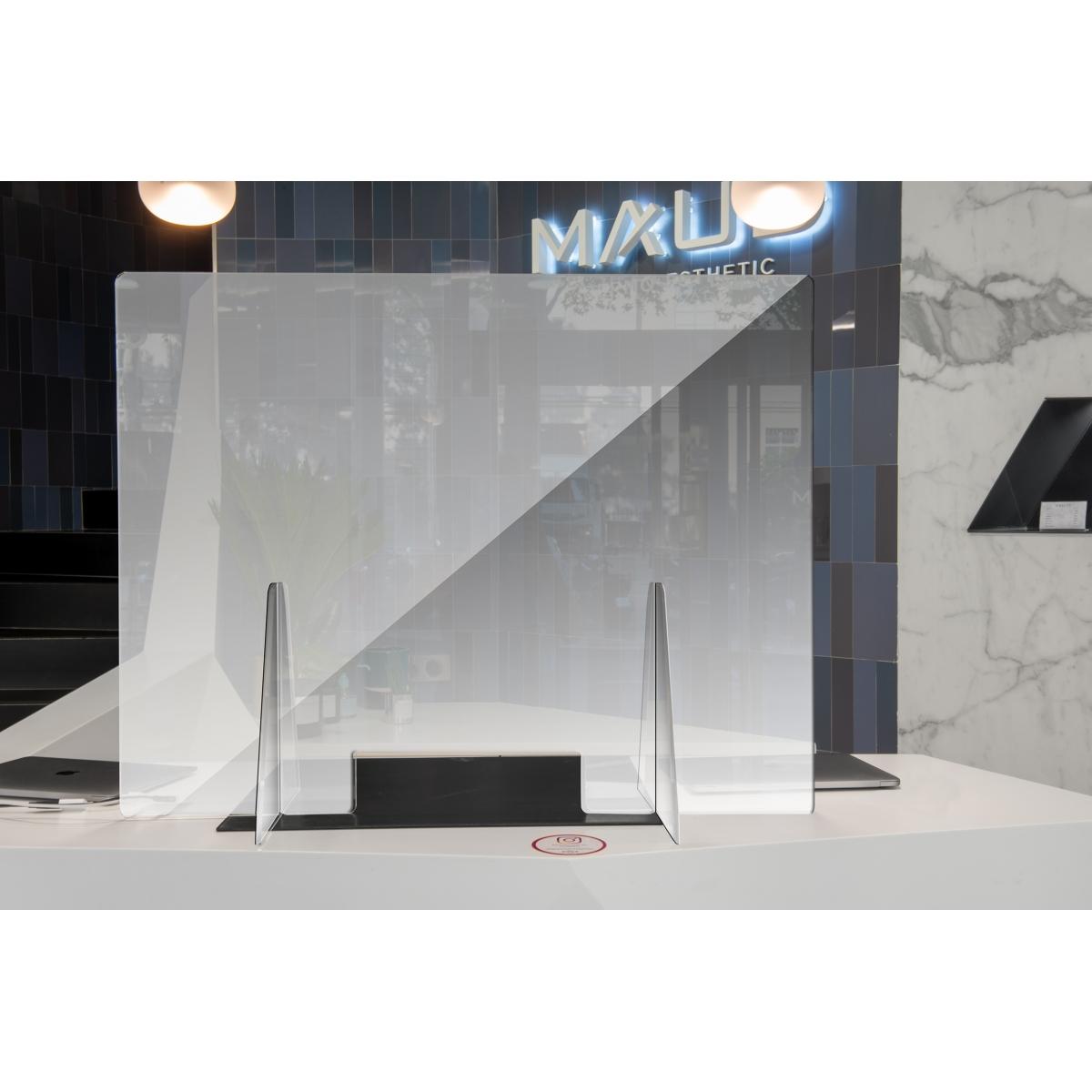 EQUIPEMENTS - MAUD PROFESSIONAL SHOP - VITRAGE DE PROTECTION DE COMPTOIR VISITEUR PVC AVEC OUVERTURE BASSE (70 x 90 cm)