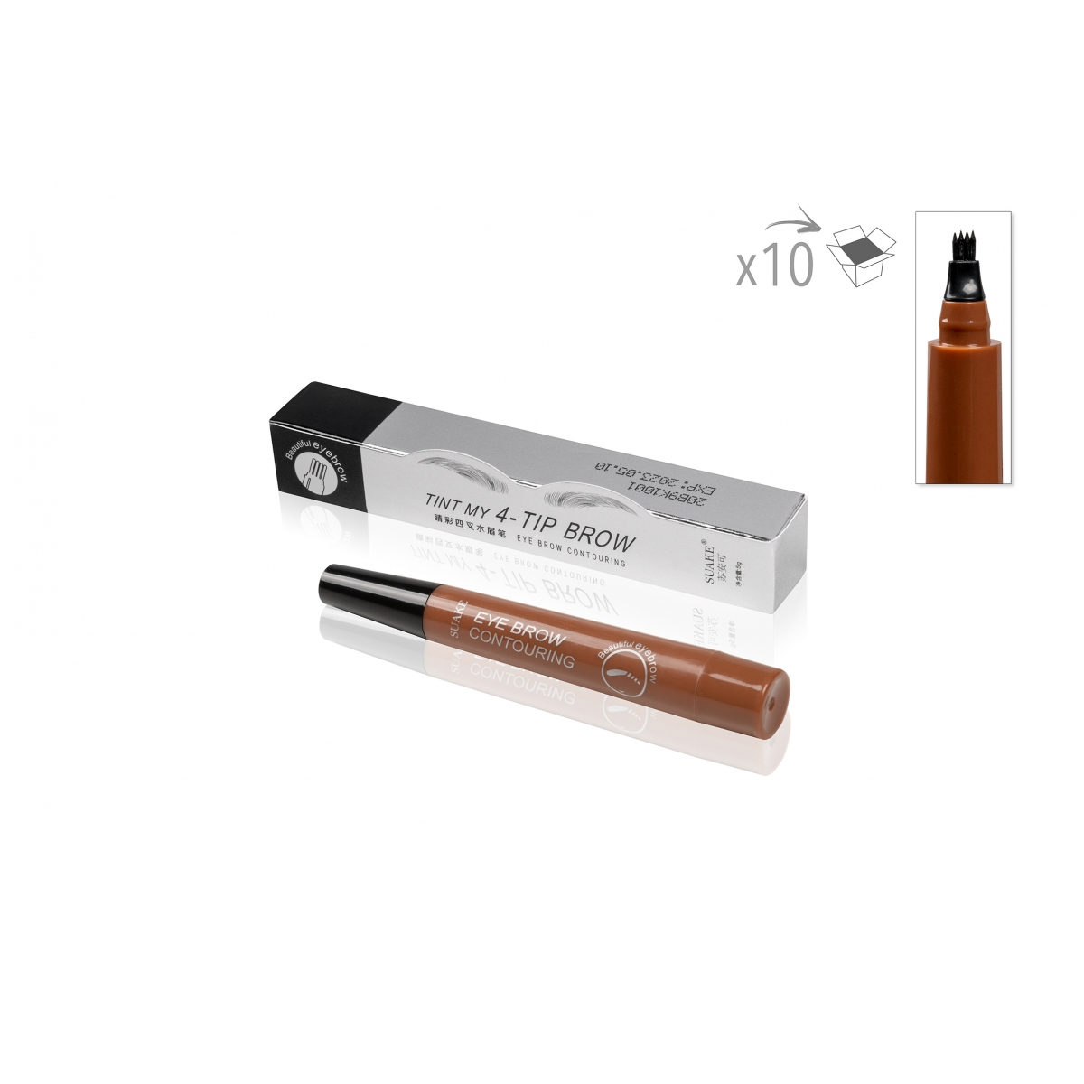 SOIN DU REGARD - MAUD COSMETICS - STYLO MICROBLADING SOURCILS A FOURCHE IMPERMEABLE 4 POINTES MARRON CLAIR (x10)